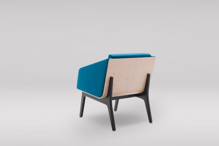 Fotel FIN z podłokietnikami podstawa drewniana tył